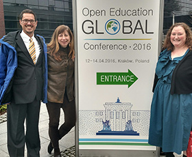 Left to right: Open Education Consortium board members James Glapa-Grossklag and Barbara Illowsky, and Community College Consortium for Open Educational Resources board president Quill West
