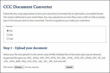 CCC Document Converter, a tool provided by the California Community Colleges Accessibility Center