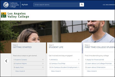 Los Angeles Valley College MyPath home screen, May 2020
