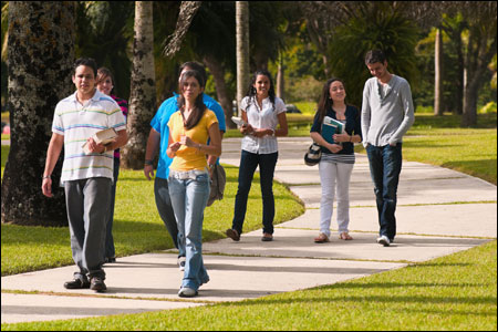 Students walking on a pathway