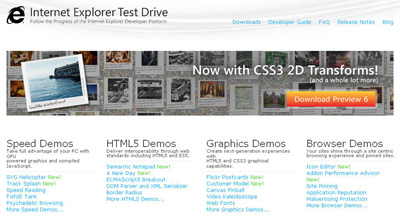 Snapshot of the Internet Explorer Test Drive Web page.