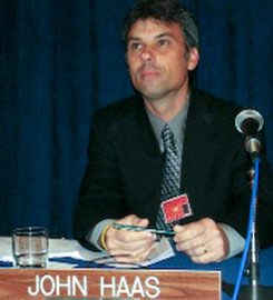 Professor Haas speaking at the U.N. about global education.